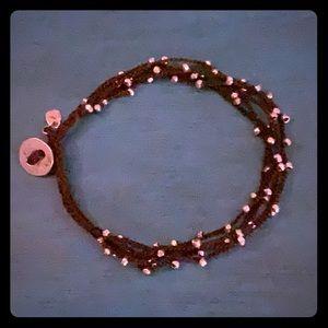 Silpada silver and cord bracelet